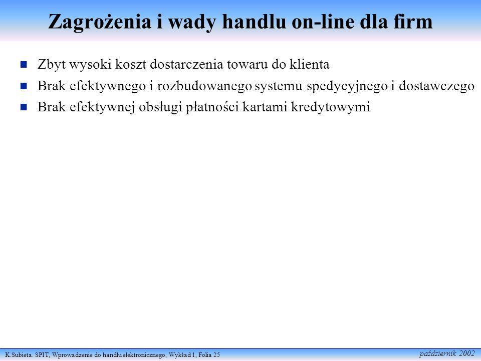 K.Subieta. SPIT, Wprowadzenie do handlu elektronicznego, Wykład 1, Folia 25 październik 2002 Zagrożenia i wady handlu on-line dla firm Zbyt wysoki kos