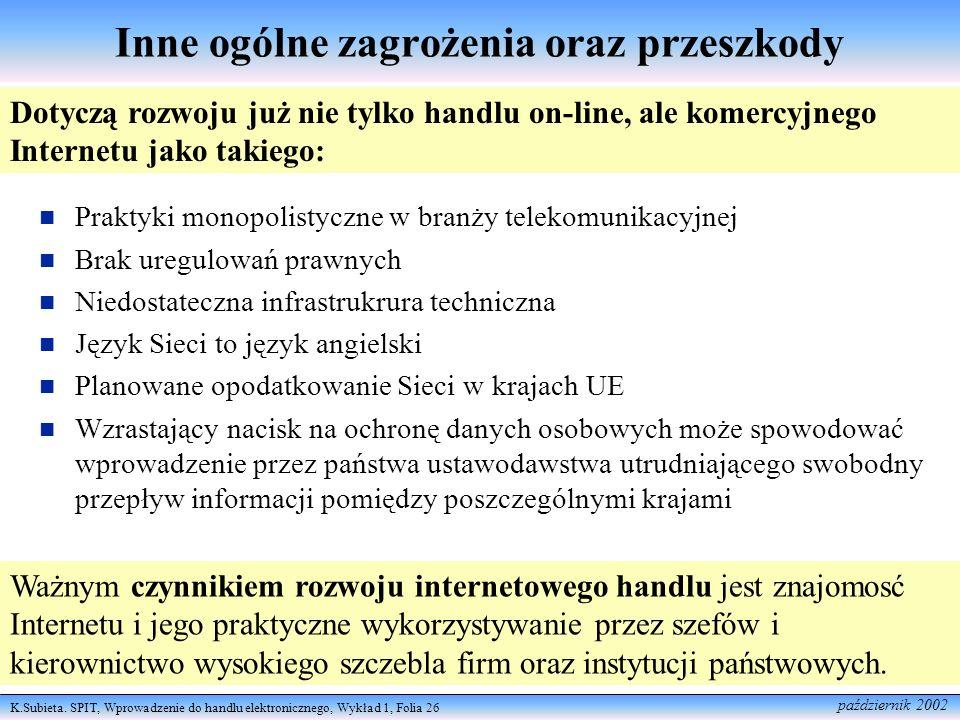 K.Subieta. SPIT, Wprowadzenie do handlu elektronicznego, Wykład 1, Folia 26 październik 2002 Inne ogólne zagrożenia oraz przeszkody Praktyki monopolis
