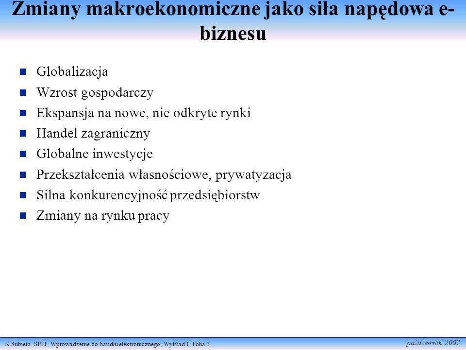 K.Subieta. SPIT, Wprowadzenie do handlu elektronicznego, Wykład 1, Folia 3 październik 2002 Zmiany makroekonomiczne jako siła napędowa e- biznesu Glob