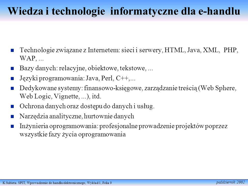 K.Subieta. SPIT, Wprowadzenie do handlu elektronicznego, Wykład 1, Folia 9 październik 2002 Technologie związane z Internetem: sieci i serwery, HTML,