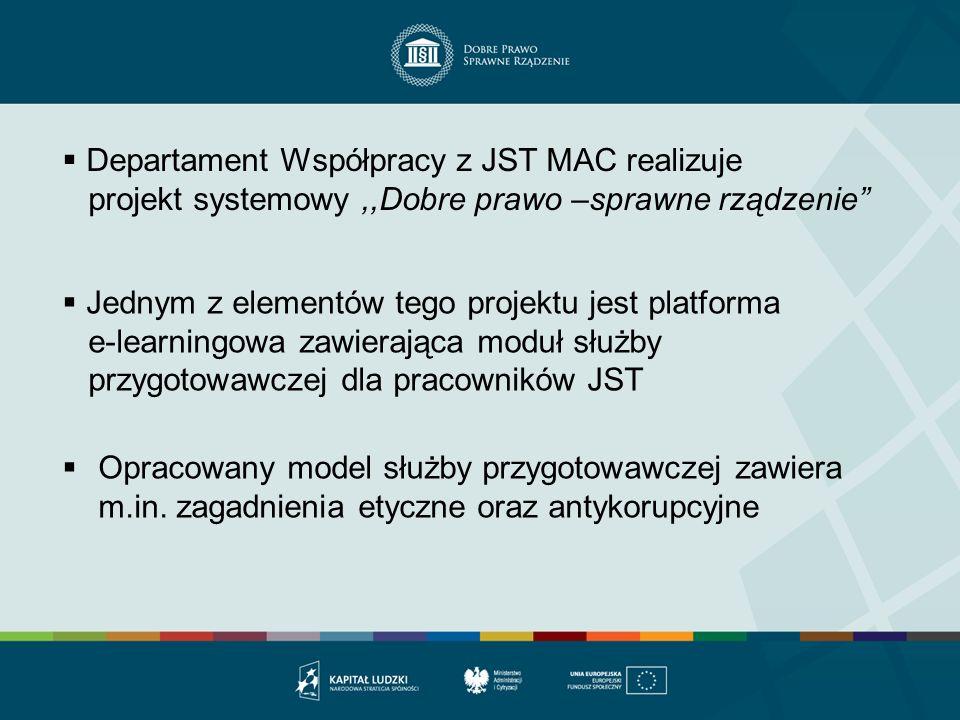 Departament Współpracy z JST MAC realizuje projekt systemowy,,Dobre prawo –sprawne rządzenie Jednym z elementów tego projektu jest platforma e-learnin