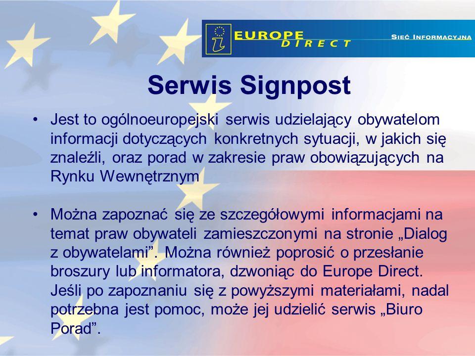 Jest to ogólnoeuropejski serwis udzielający obywatelom informacji dotyczących konkretnych sytuacji, w jakich się znaleźli, oraz porad w zakresie praw obowiązujących na Rynku Wewnętrznym Można zapoznać się ze szczegółowymi informacjami na temat praw obywateli zamieszczonymi na stronie Dialog z obywatelami.