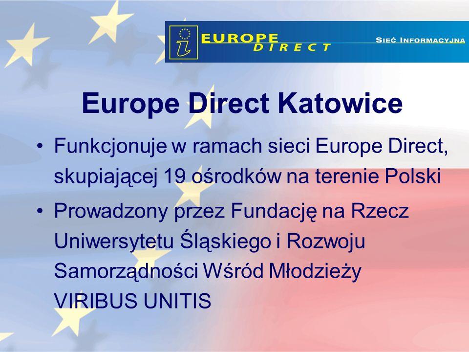 Europe Direct Katowice Funkcjonuje w ramach sieci Europe Direct, skupiającej 19 ośrodków na terenie Polski Prowadzony przez Fundację na Rzecz Uniwersytetu Śląskiego i Rozwoju Samorządności Wśród Młodzieży VIRIBUS UNITIS