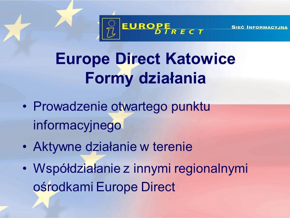 Europe Direct Katowice Formy działania Prowadzenie otwartego punktu informacyjnego Aktywne działanie w terenie Współdziałanie z innymi regionalnymi ośrodkami Europe Direct