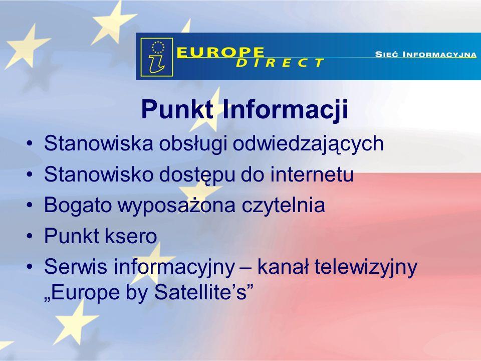 Punkt Informacji Stanowiska obsługi odwiedzających Stanowisko dostępu do internetu Bogato wyposażona czytelnia Punkt ksero Serwis informacyjny – kanał telewizyjny Europe by Satellites