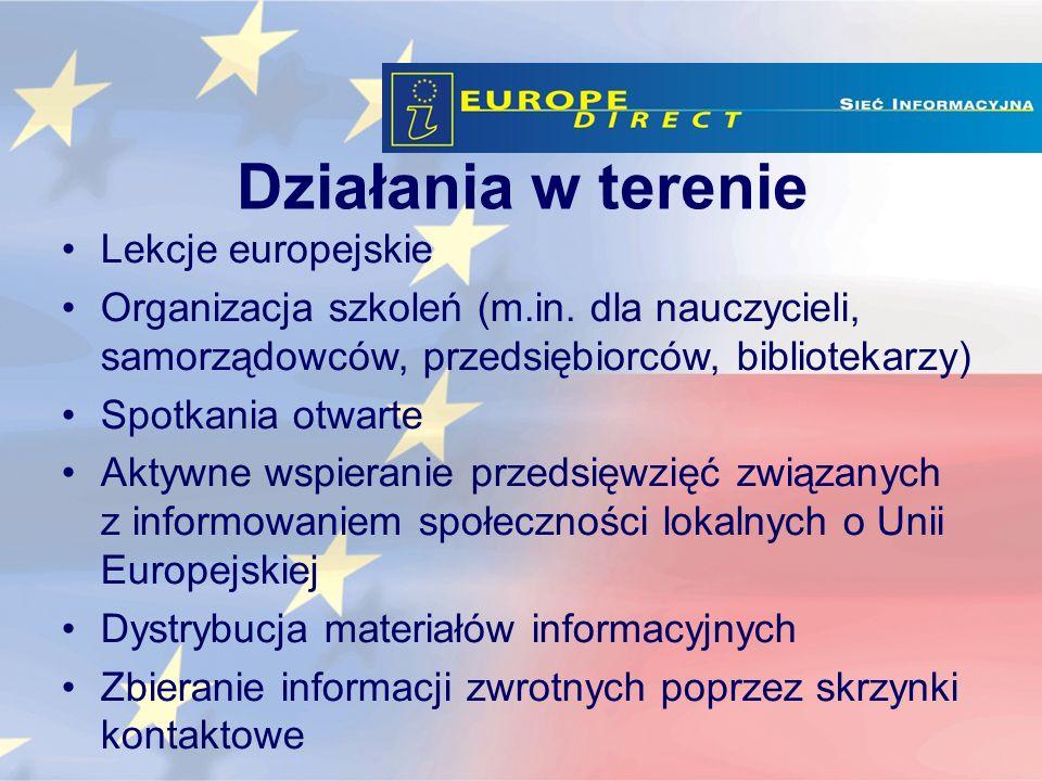 Działania w terenie Lekcje europejskie Organizacja szkoleń (m.in.