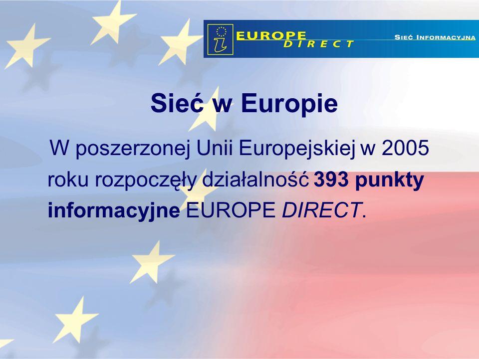 W poszerzonej Unii Europejskiej w 2005 roku rozpoczęły działalność 393 punkty informacyjne EUROPE DIRECT.