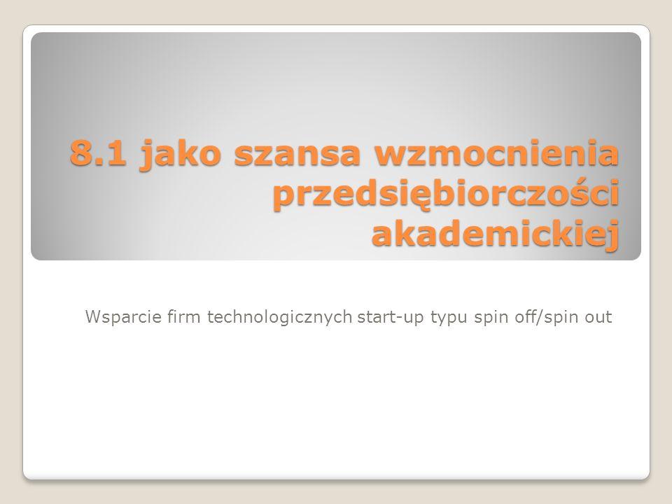 8.1 jako szansa wzmocnienia przedsiębiorczości akademickiej Wsparcie firm technologicznych start-up typu spin off/spin out