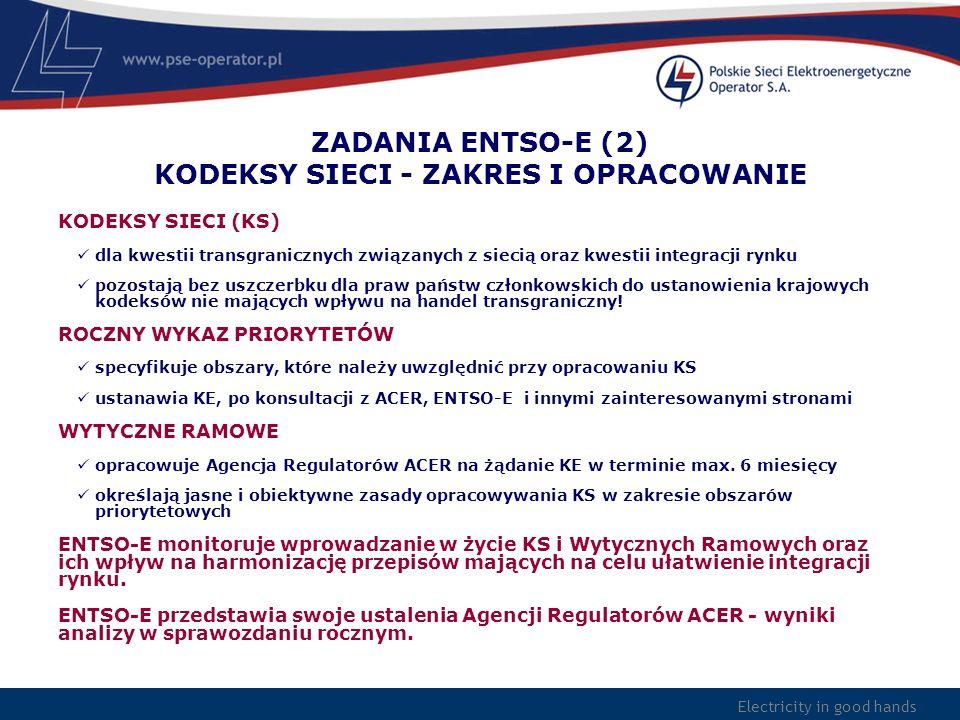 Electricity in good hands ZADANIA ENTSO-E (2) KODEKSY SIECI - ZAKRES I OPRACOWANIE KODEKSY SIECI (KS) dla kwestii transgranicznych związanych z siecią