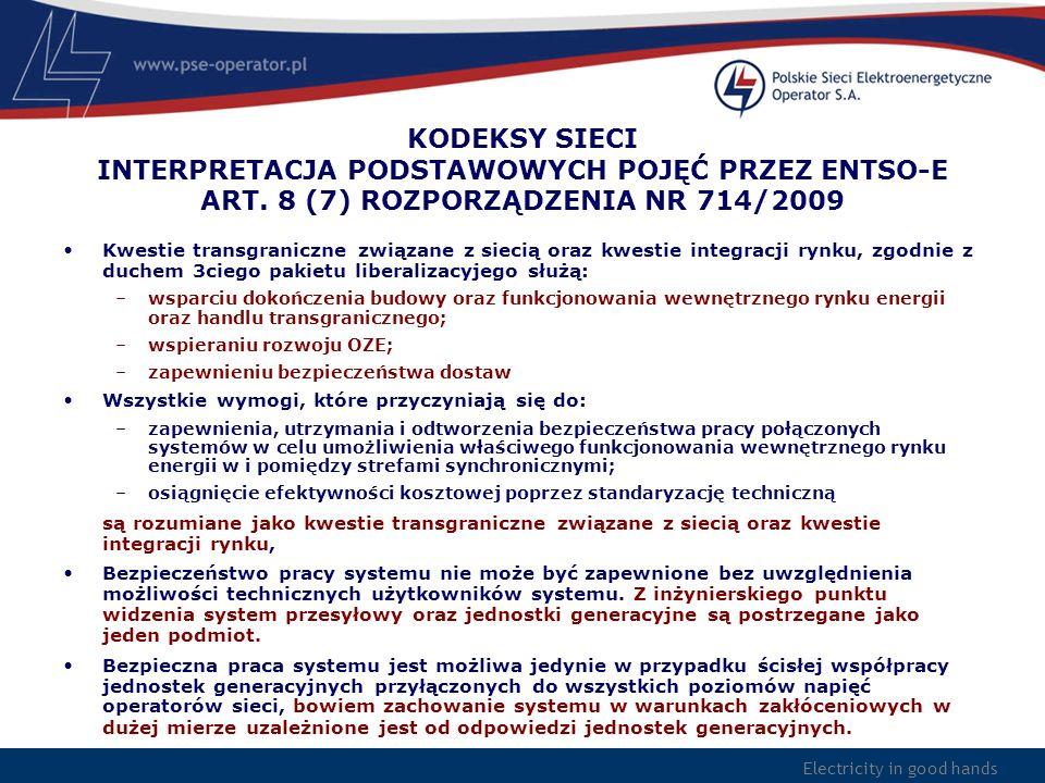 Electricity in good hands KODEKSY SIECI INTERPRETACJA PODSTAWOWYCH POJĘĆ PRZEZ ENTSO-E ART. 8 (7) ROZPORZĄDZENIA NR 714/2009 Kwestie transgraniczne zw