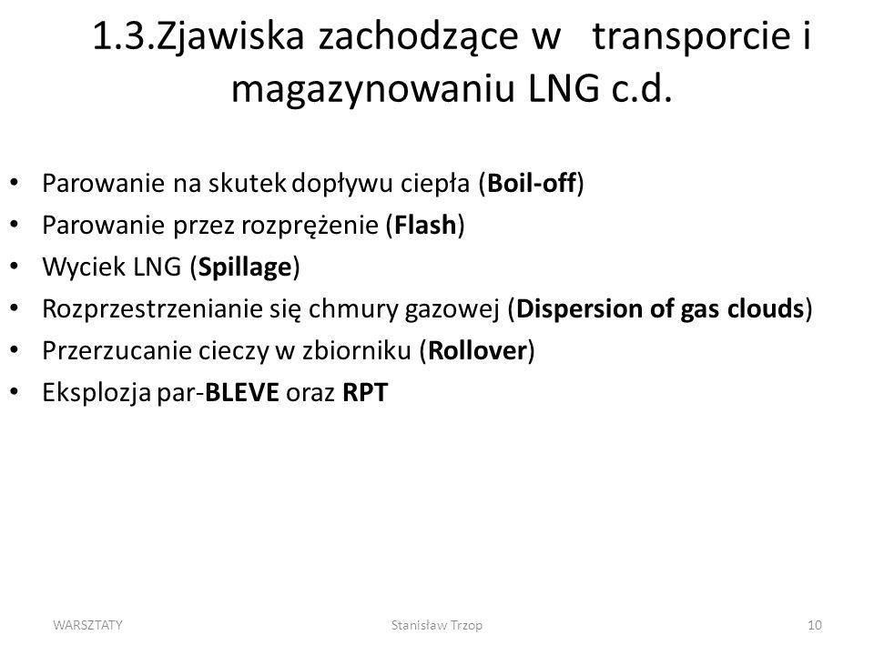 WARSZTATYStanisław Trzop10 1.3.Zjawiska zachodzące w transporcie i magazynowaniu LNG c.d. Parowanie na skutek dopływu ciepła (Boil-off) Parowanie prze