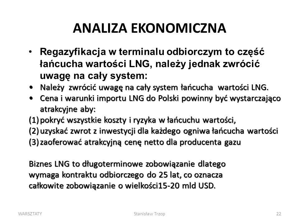 WARSZTATYStanisław Trzop22 ANALIZA EKONOMICZNA Regazyfikacja w terminalu odbiorczym to część łańcucha wartości LNG, należy jednak zwrócić uwagę na cał