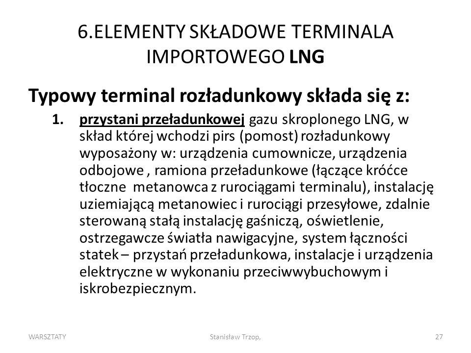WARSZTATYStanisław Trzop,27 6.ELEMENTY SKŁADOWE TERMINALA IMPORTOWEGO LNG Typowy terminal rozładunkowy składa się z: 1.przystani przeładunkowej gazu skroplonego LNG, w skład której wchodzi pirs (pomost) rozładunkowy wyposażony w: urządzenia cumownicze, urządzenia odbojowe, ramiona przeładunkowe (łączące króćce tłoczne metanowca z rurociągami terminalu), instalację uziemiającą metanowiec i rurociągi przesyłowe, zdalnie sterowaną stałą instalację gaśniczą, oświetlenie, ostrzegawcze światła nawigacyjne, system łączności statek – przystań przeładunkowa, instalacje i urządzenia elektryczne w wykonaniu przeciwwybuchowym i iskrobezpiecznym.