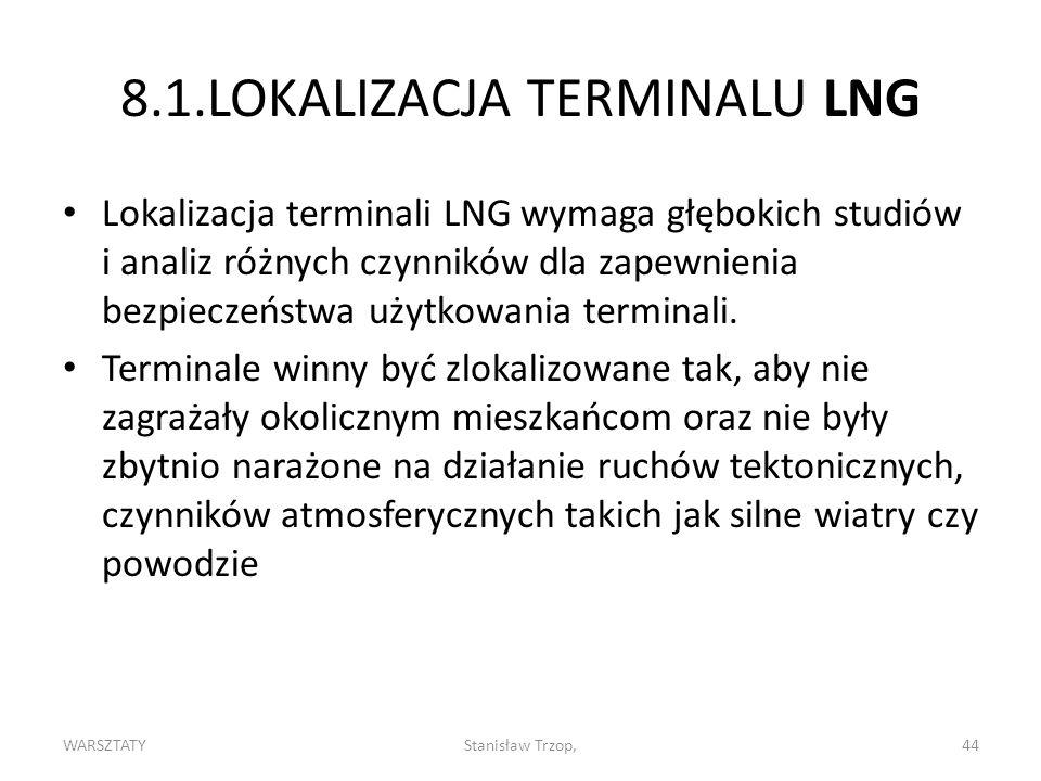 WARSZTATYStanisław Trzop,44 8.1.LOKALIZACJA TERMINALU LNG Lokalizacja terminali LNG wymaga głębokich studiów i analiz różnych czynników dla zapewnienia bezpieczeństwa użytkowania terminali.