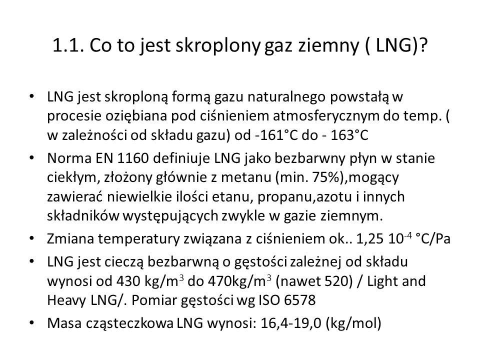 1.1. Co to jest skroplony gaz ziemny ( LNG)? LNG jest skroploną formą gazu naturalnego powstałą w procesie oziębiana pod ciśnieniem atmosferycznym do
