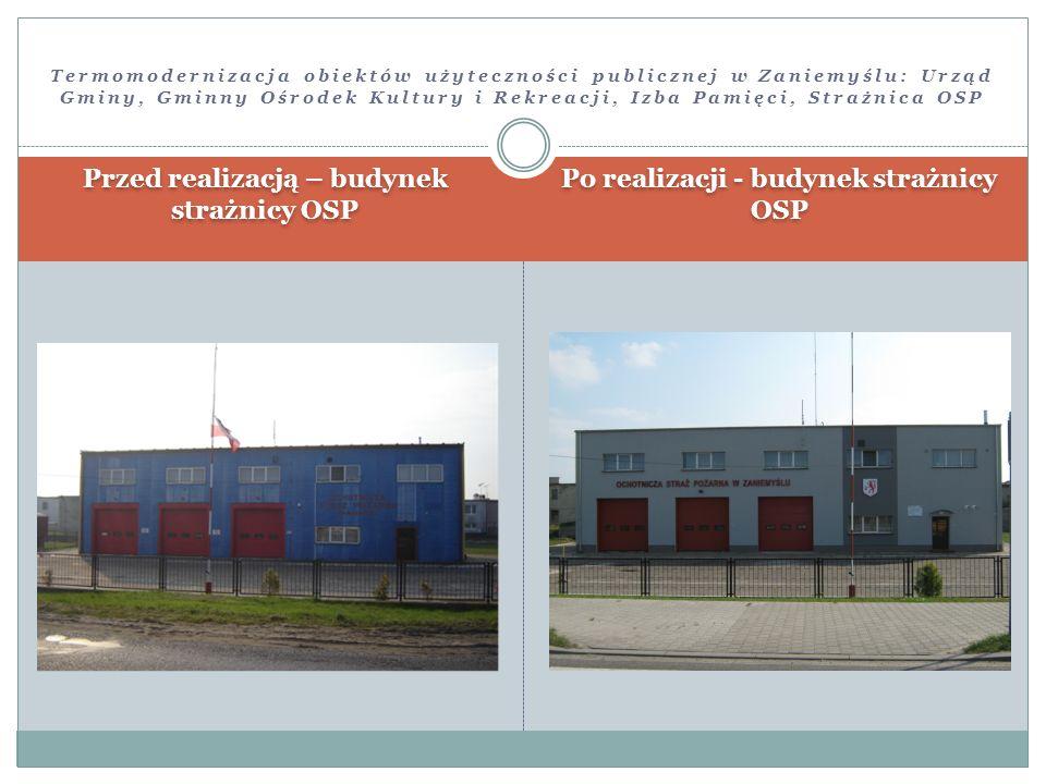 Przed realizacją – budynek strażnicy OSP Po realizacji - budynek strażnicy OSP Termomodernizacja obiektów użyteczności publicznej w Zaniemyślu: Urząd
