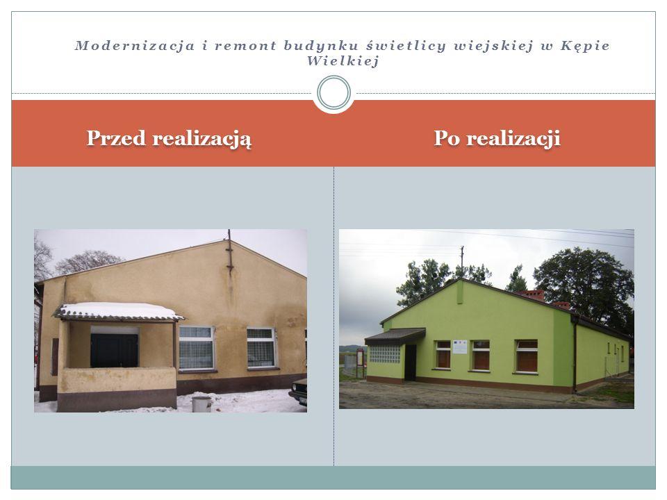 Przed realizacją Po realizacji Modernizacja i remont budynku świetlicy wiejskiej w Kępie Wielkiej