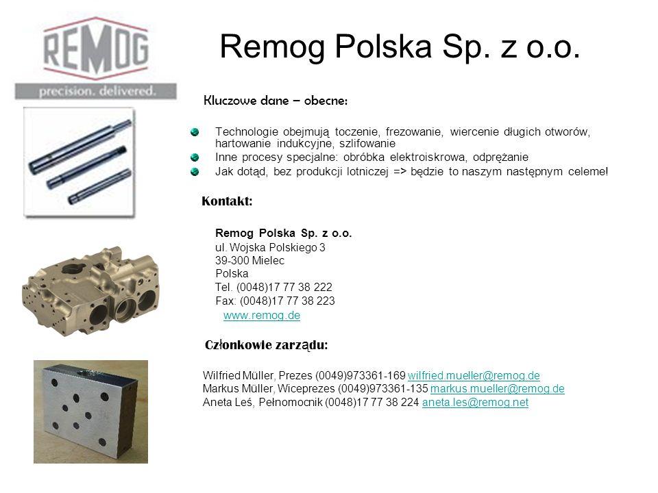 Remog Polska Sp. z o.o. Kluczowe dane – obecne: Technologie obejmują toczenie, frezowanie, wiercenie długich otworów, hartowanie indukcyjne, szlifowan