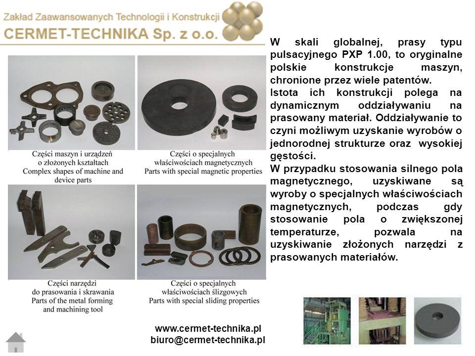 W skali globalnej, prasy typu pulsacyjnego PXP 1.00, to oryginalne polskie konstrukcje maszyn, chronione przez wiele patentów. Istota ich konstrukcji