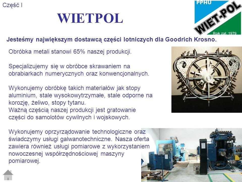 WIETPOL Część II Naszym głównymi klientami w przemyśle lotniczym są: Goodrich Krosno (Goodrich Corp.) i WSK PZL-Rzeszów (United Technology Corp.).