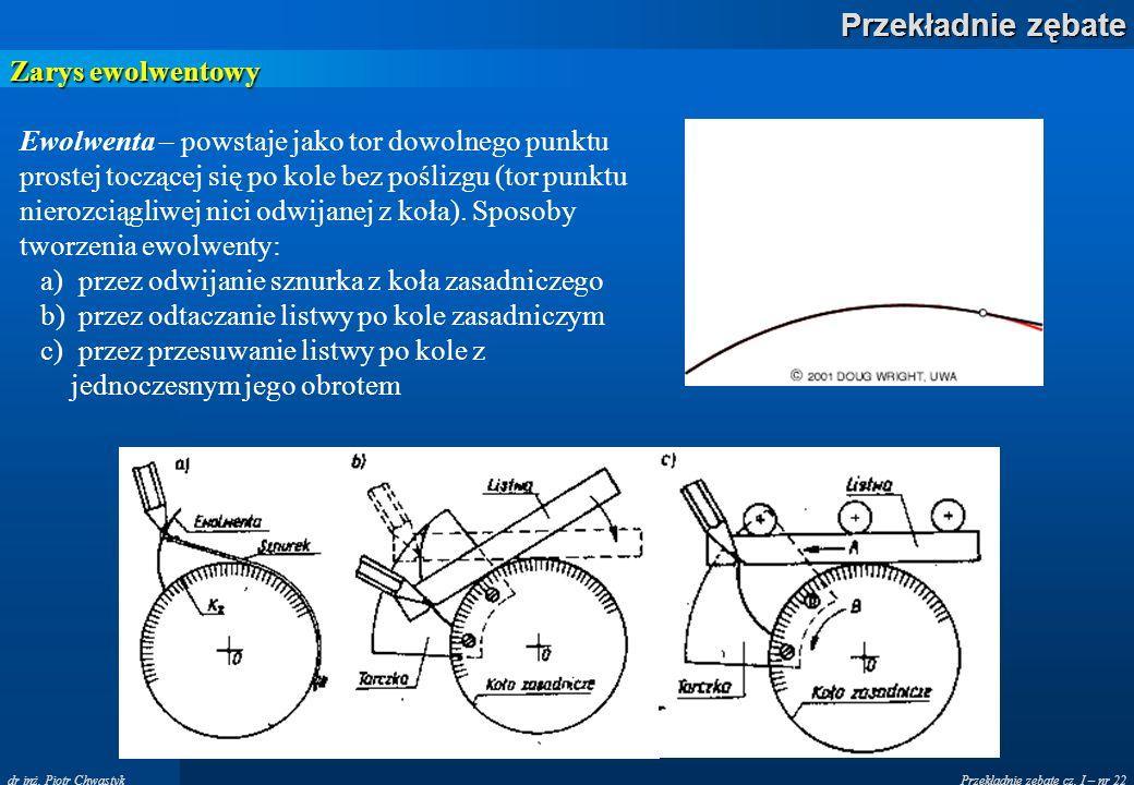 Przekładnie zębate cz. I – nr 22 Przekładnie zębate dr inż. Piotr Chwastyk Zarys ewolwentowy Ewolwenta – powstaje jako tor dowolnego punktu prostej to