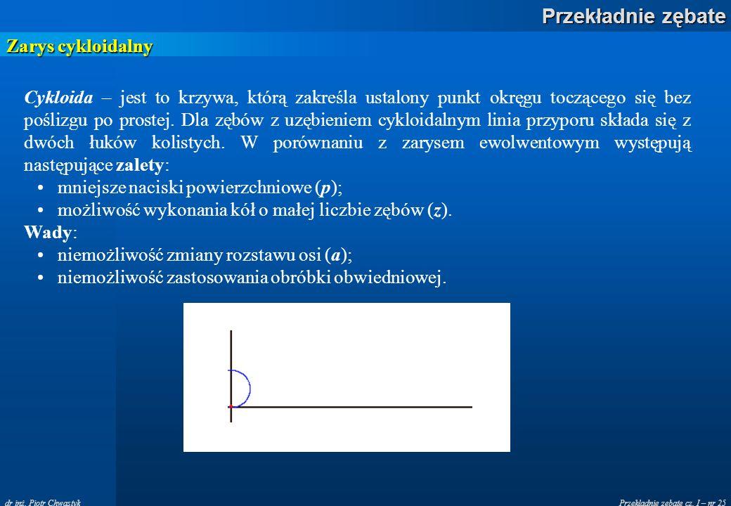 Przekładnie zębate cz. I – nr 25 Przekładnie zębate dr inż. Piotr Chwastyk Zarys cykloidalny Cykloida – jest to krzywa, którą zakreśla ustalony punkt