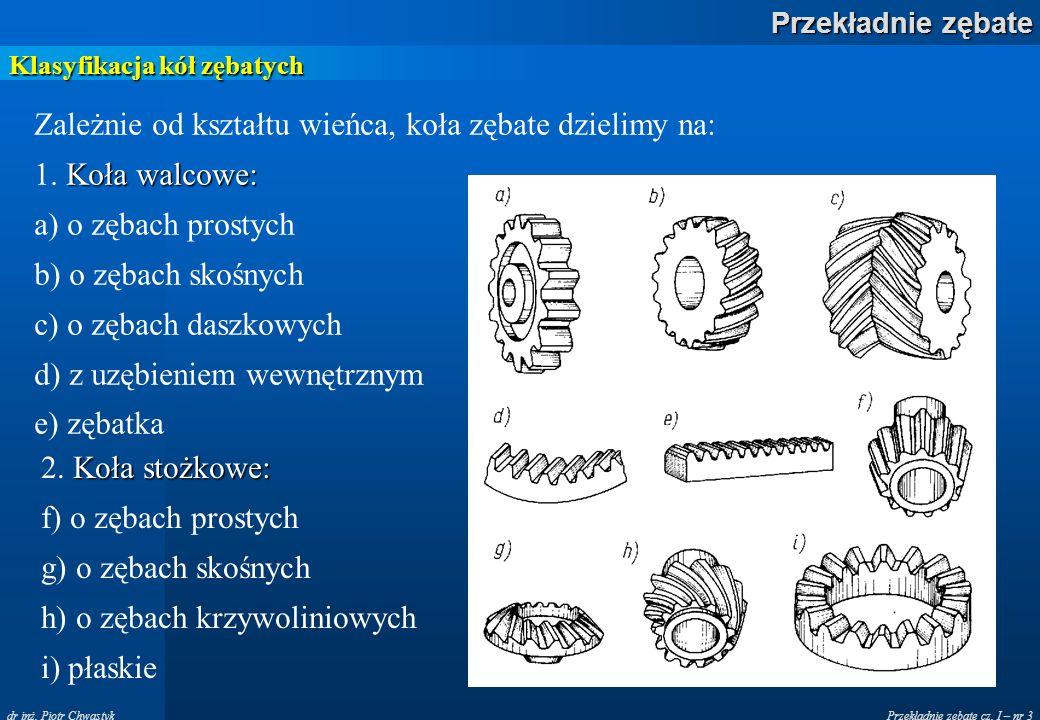 Przekładnie zębate cz. I – nr 3 Przekładnie zębate dr inż. Piotr Chwastyk Klasyfikacja kół zębatych Zależnie od kształtu wieńca, koła zębate dzielimy