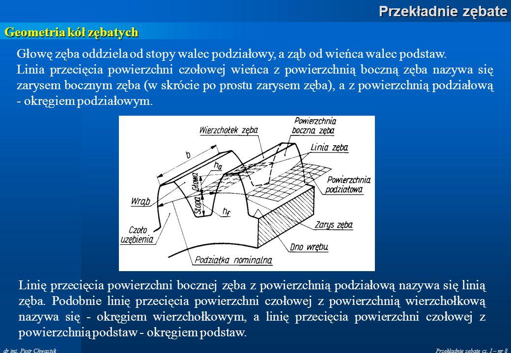 Przekładnie zębate cz. I – nr 8 Przekładnie zębate dr inż. Piotr Chwastyk Geometria kół zębatych Głowę zęba oddziela od stopy walec podziałowy, a ząb