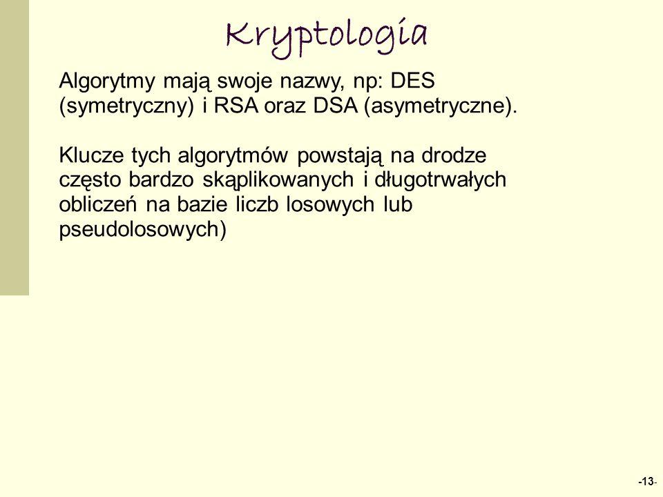 -13 - Kryptologia Algorytmy mają swoje nazwy, np: DES (symetryczny) i RSA oraz DSA (asymetryczne). Klucze tych algorytmów powstają na drodze często ba
