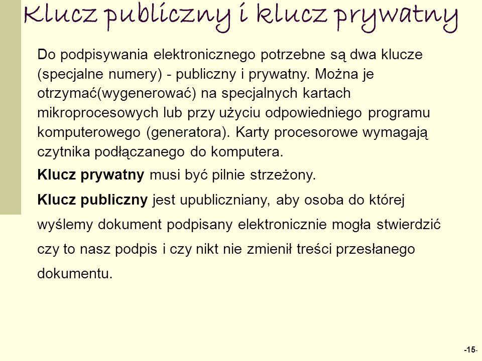 -15 - Klucz publiczny i klucz prywatny Do podpisywania elektronicznego potrzebne są dwa klucze (specjalne numery) - publiczny i prywatny.