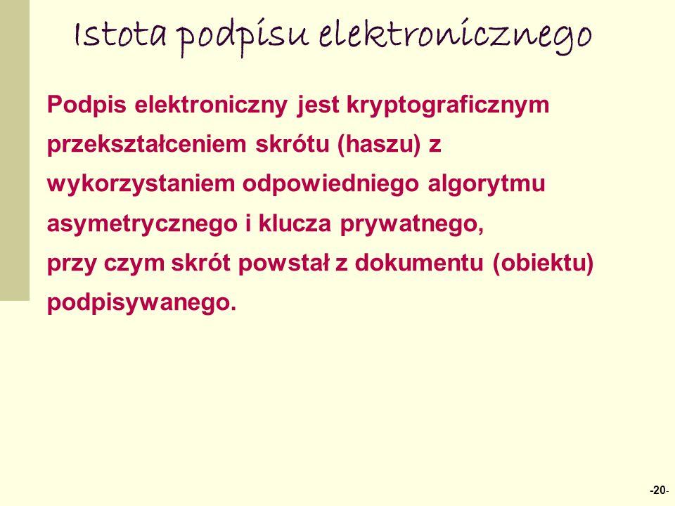 -20 - Istota podpisu elektronicznego Podpis elektroniczny jest kryptograficznym przekształceniem skrótu (haszu) z wykorzystaniem odpowiedniego algorytmu asymetrycznego i klucza prywatnego, przy czym skrót powstał z dokumentu (obiektu) podpisywanego.