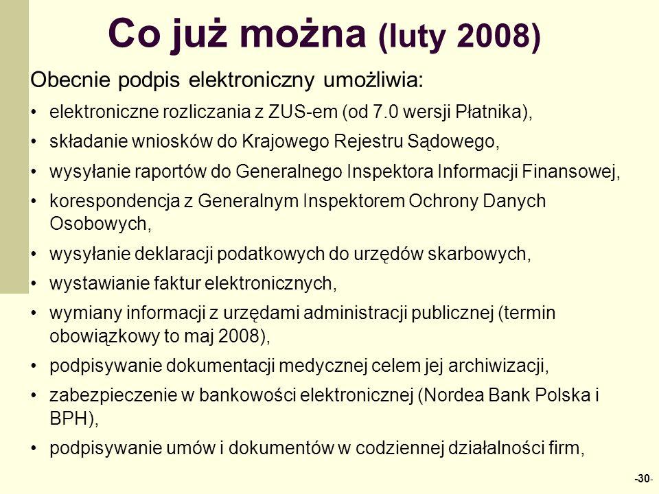 Co już można (luty 2008) Obecnie podpis elektroniczny umożliwia: elektroniczne rozliczania z ZUS-em (od 7.0 wersji Płatnika), składanie wniosków do Kr