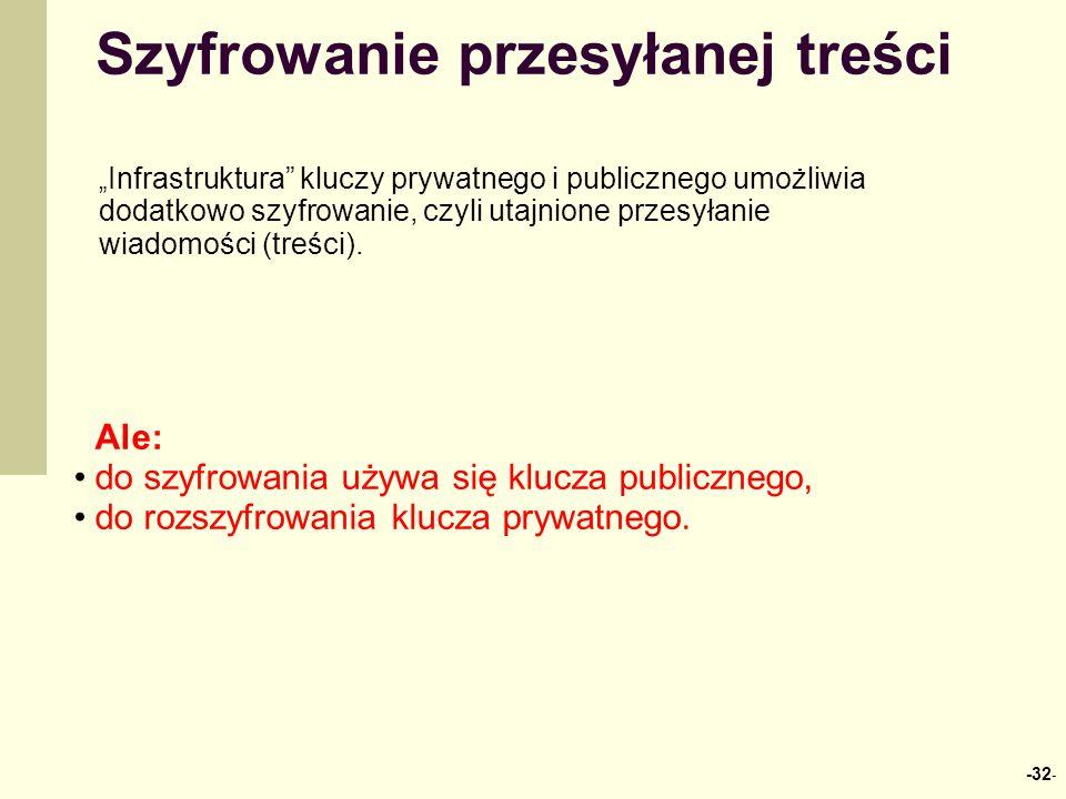 Szyfrowanie przesyłanej treści Ale: do szyfrowania używa się klucza publicznego, do rozszyfrowania klucza prywatnego. Infrastruktura kluczy prywatnego