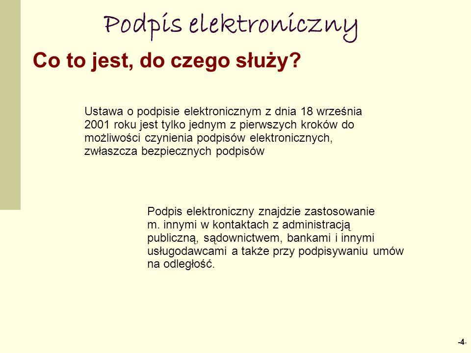 -4 - Podpis elektroniczny Podpis elektroniczny znajdzie zastosowanie m. innymi w kontaktach z administracją publiczną, sądownictwem, bankami i innymi
