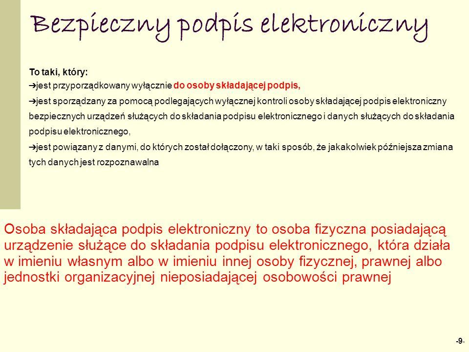 -9 - Bezpieczny podpis elektroniczny To taki, który: jest przyporządkowany wyłącznie do osoby składającej podpis, jest sporządzany za pomocą podlegają