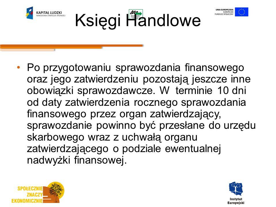Księgi Handlowe Po przygotowaniu sprawozdania finansowego oraz jego zatwierdzeniu pozostają jeszcze inne obowiązki sprawozdawcze.