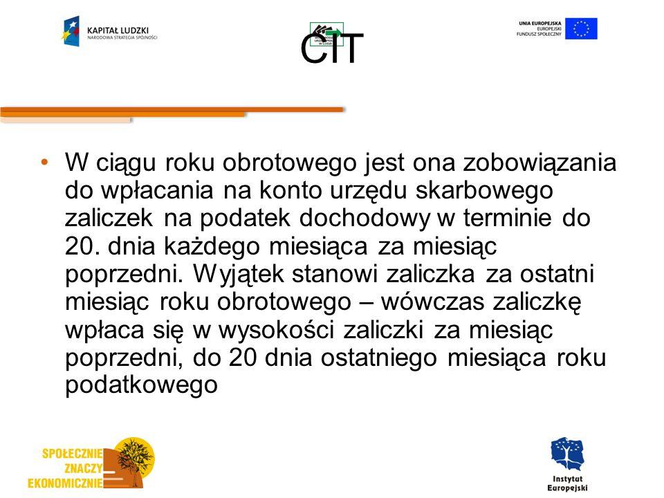CIT W ciągu roku obrotowego jest ona zobowiązania do wpłacania na konto urzędu skarbowego zaliczek na podatek dochodowy w terminie do 20.
