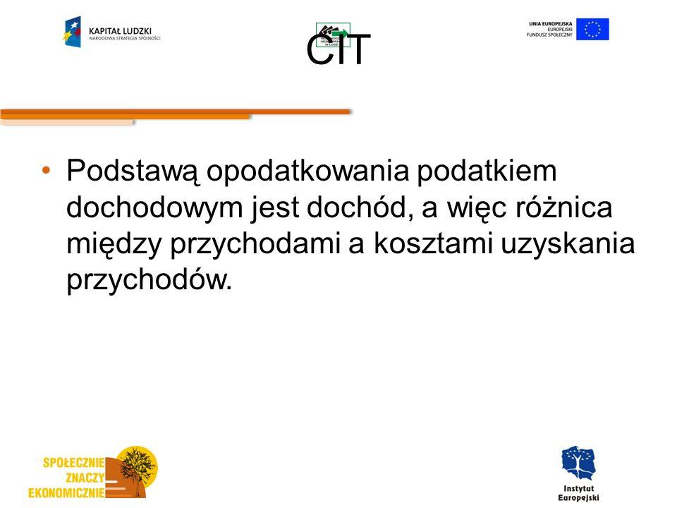 CIT Podstawą opodatkowania podatkiem dochodowym jest dochód, a więc różnica między przychodami a kosztami uzyskania przychodów.
