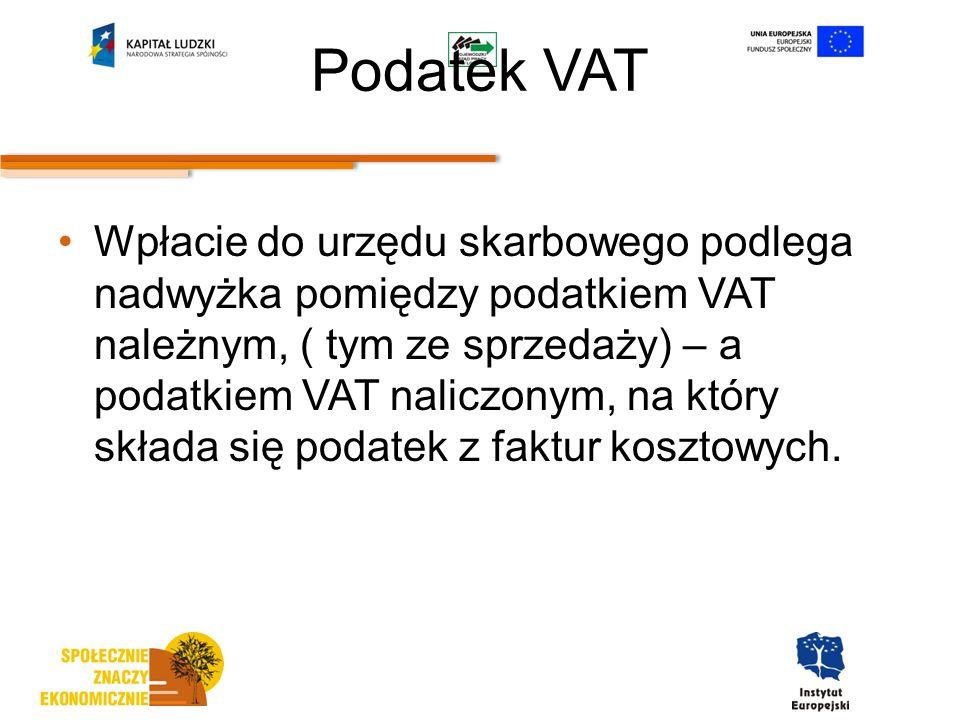 Podatek VAT Wpłacie do urzędu skarbowego podlega nadwyżka pomiędzy podatkiem VAT należnym, ( tym ze sprzedaży) – a podatkiem VAT naliczonym, na który składa się podatek z faktur kosztowych.