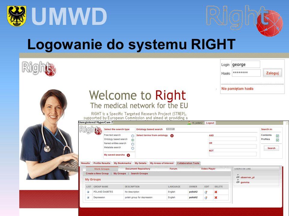Logowanie do systemu RIGHT UMWD