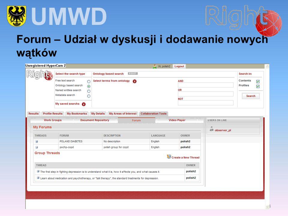 14 Forum – Udział w dyskusji i dodawanie nowych wątków UMWD