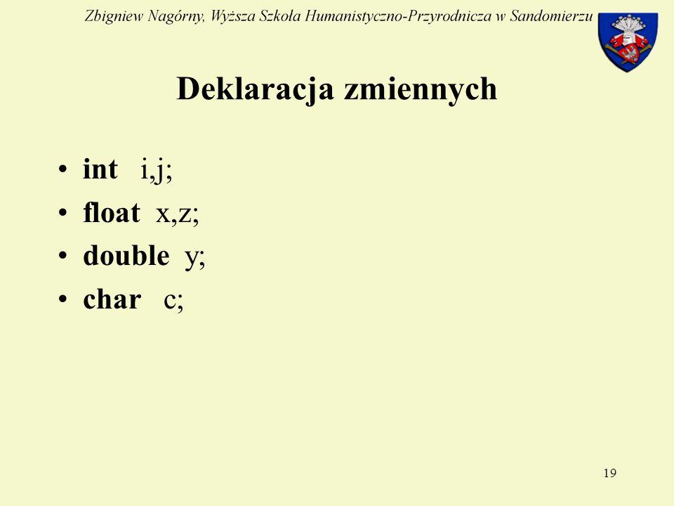 19 Deklaracja zmiennych int i,j; float x,z; double y; char c;