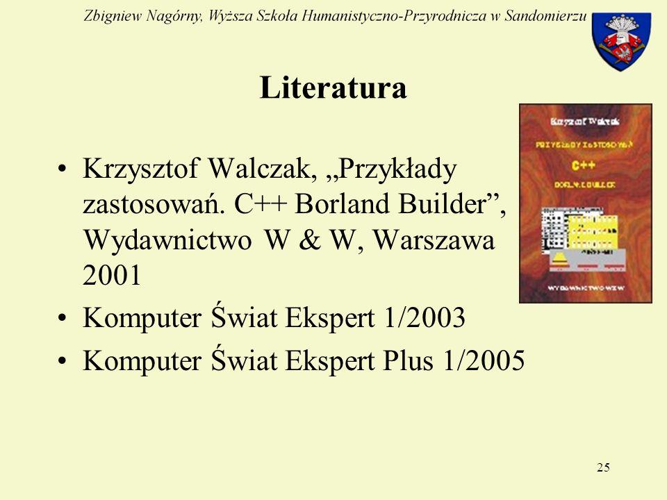 25 Literatura Krzysztof Walczak, Przykłady zastosowań.