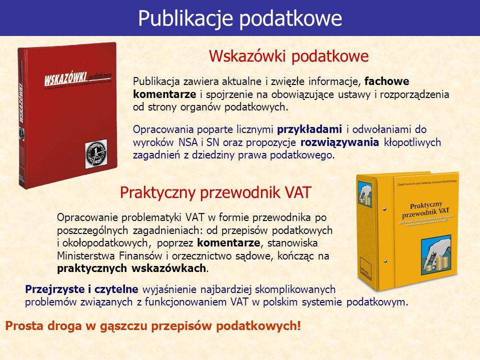 Publikacje podatkowe Opracowanie problematyki VAT w formie przewodnika po poszczególnych zagadnieniach: od przepisów podatkowych i okołopodatkowych, poprzez komentarze, stanowiska Ministerstwa Finansów i orzecznictwo sądowe, kończąc na praktycznych wskazówkach.