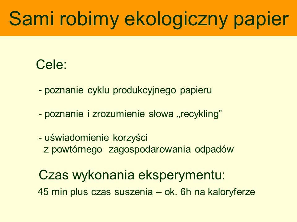 Sami robimy ekologiczny papier Cele: - poznanie cyklu produkcyjnego papieru - poznanie i zrozumienie słowa recykling - uświadomienie korzyści z powtór