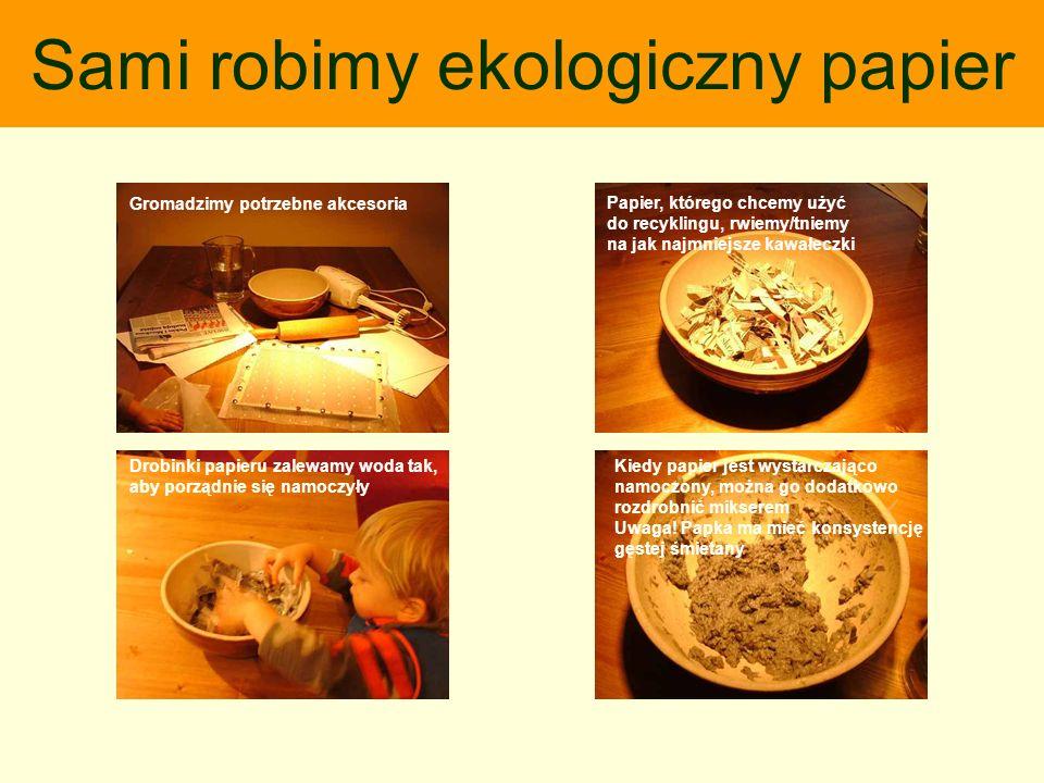 Papier, którego chcemy użyć do recyklingu, rwiemy/tniemy na jak najmniejsze kawałeczki Drobinki papieru zalewamy woda tak, aby porządnie się namoczyły