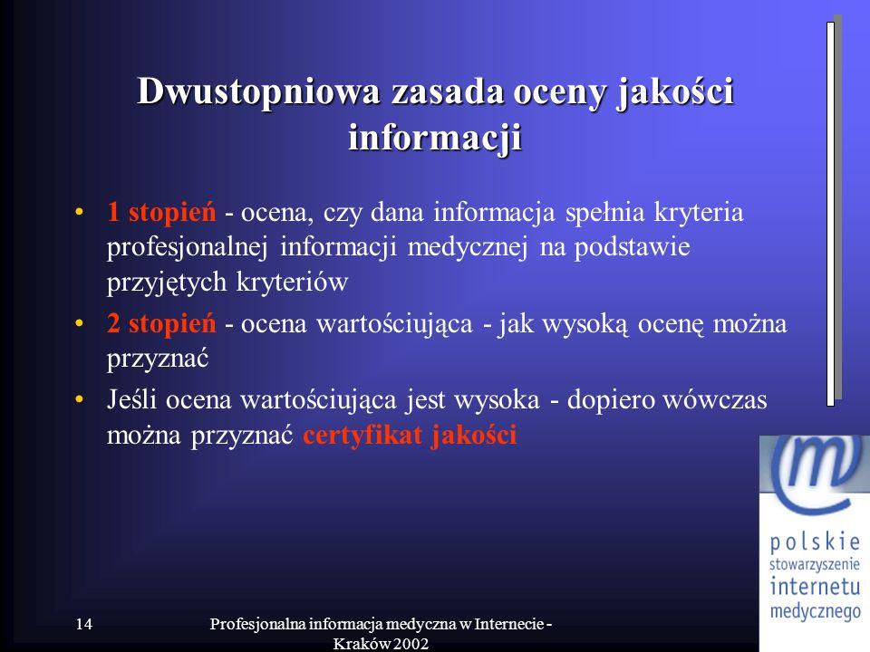 Profesjonalna informacja medyczna w Internecie - Kraków 2002 14 Dwustopniowa zasada oceny jakości informacji 1 stopień - ocena, czy dana informacja sp