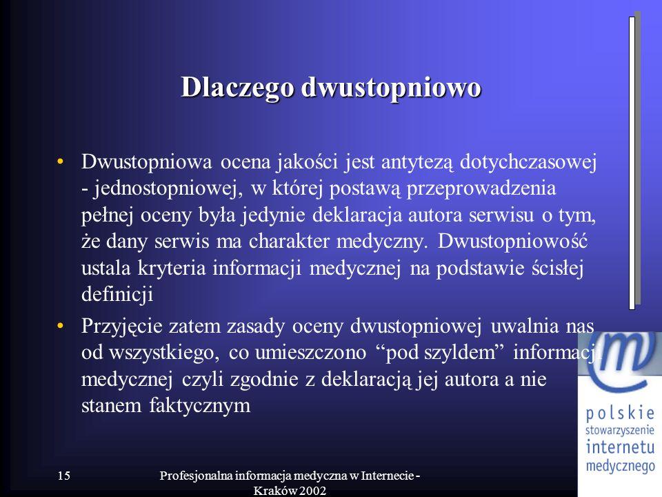Profesjonalna informacja medyczna w Internecie - Kraków 2002 15 Dlaczego dwustopniowo Dwustopniowa ocena jakości jest antytezą dotychczasowej - jednos