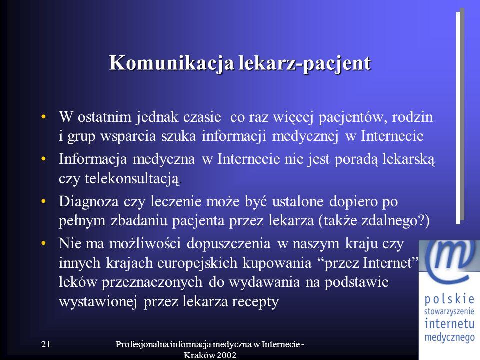 Profesjonalna informacja medyczna w Internecie - Kraków 2002 21 Komunikacja lekarz-pacjent W ostatnim jednak czasie co raz więcej pacjentów, rodzin i