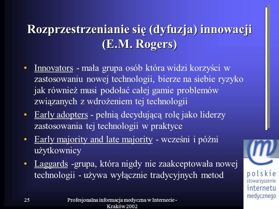 Profesjonalna informacja medyczna w Internecie - Kraków 2002 25 Rozprzestrzenianie się (dyfuzja) innowacji (E.M. Rogers) Innovators - mała grupa osób